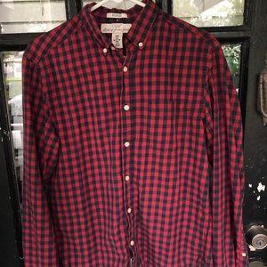 H&M L.O.G.G. Red Check Plaid Flannel Button Down